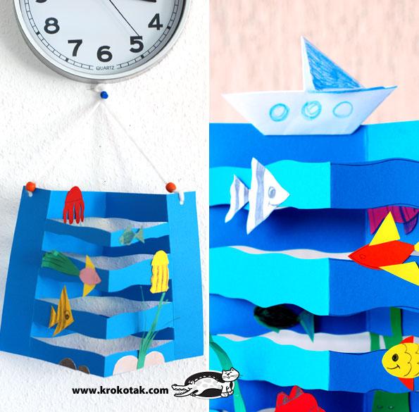 کاردستی ساخت دریای موج دار با کشتی و ماهی