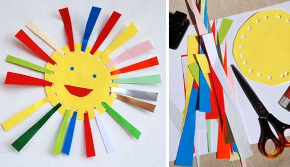 کاردستی ساده ساخت خورشید از کاغذ های رنگی