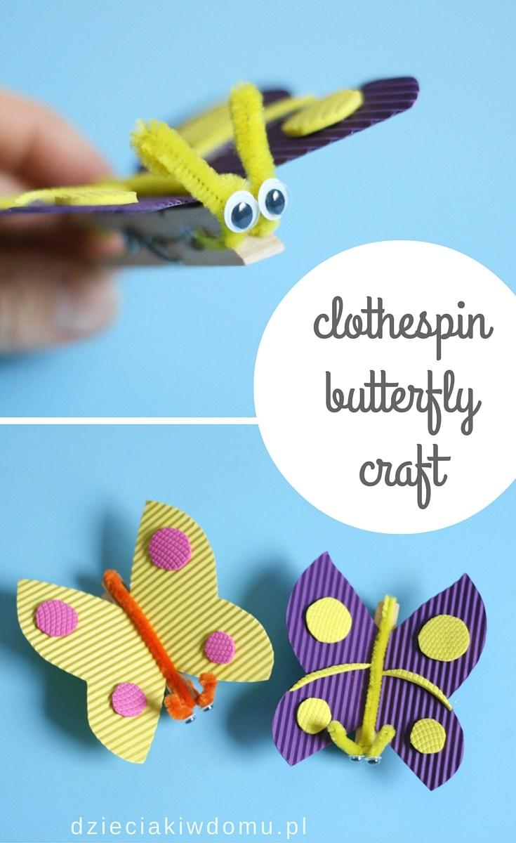 کاردستی کودک: ساخت پروانه با گیره لباس
