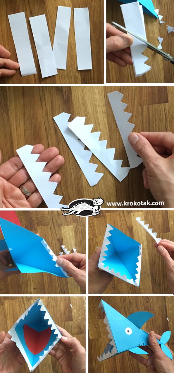 کاردستی کودک: ساخت کوسه با کاغذ رنگی