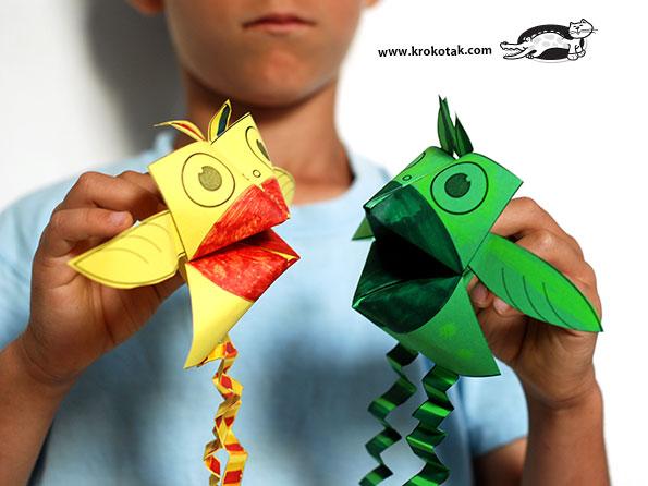 کاردستی کودک: عروسک پرنده با اوریگامی