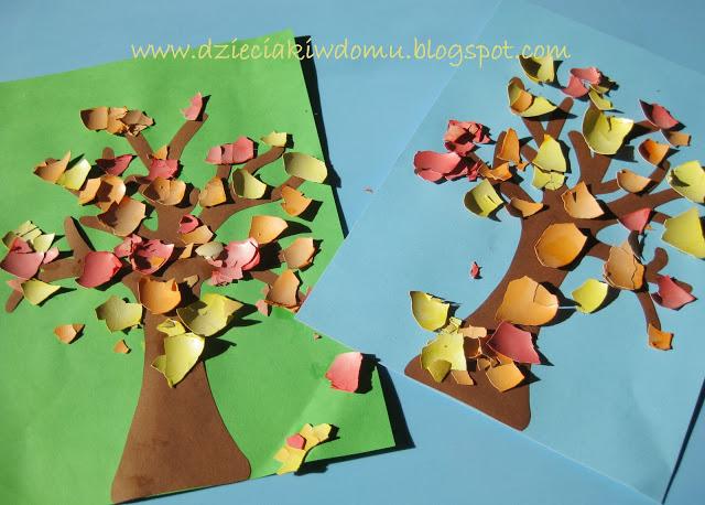 کار دستی کودکان ساخت درخت با کاغذ و پوست تخم مرغ