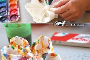 کاردستی ساخت گل با دستمال کاغذی