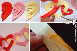 کاردستی ساده قلب با کاغذ رنگی