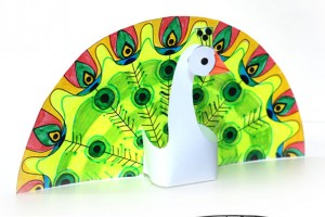 کاردستی طاووس پرینتی با کاغذ رنگی