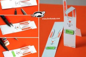 کاردستی کودک: بوک مارک (نشان کتاب) خرگوشی