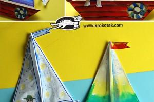 کاردستی کودک: ساخت یک قایق ساده با کاغذ و آب رنگ