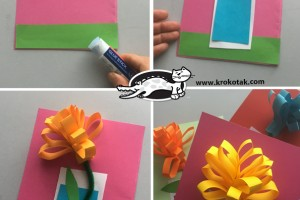 کاردستی کودک: کارت پستال با گل کاغذی