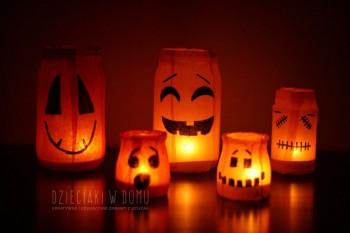 ساخت کاردستی هالووین از کاغذ رنگی و شیشه های مربا و ترشی