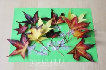 کاردستی ساخت تابلو از برگ های زمستانی