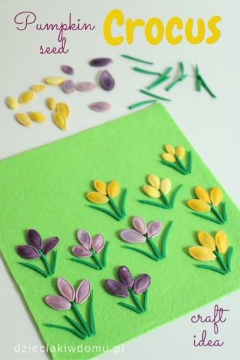 کاردستی ساخت گل با تخم کدو حلوایی