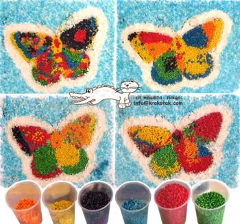 کاردستی ساده ساخت پروانه از پولک های رنگی