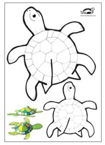 کاردستی لاک پشت پرینتی با کاغذ رنگی