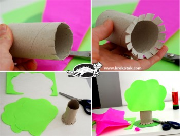 کاردستی کودک: ساخت درخت با رول دستمال کاغذی