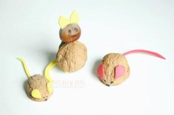 کاردستی کودک: ساخت موش و گربه با پوست گردو و فوم