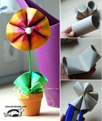 کاردستی کودک: ساخت گل و گلدان با رول دستمال توالت