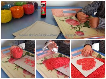 کار دستی کودکان - نقاشی با برنج رنگی
