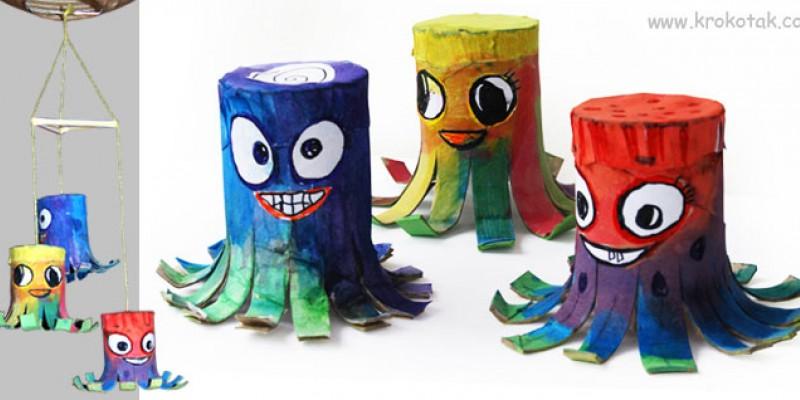 ساخت کاردستی 8 پا با رول های دستمال کاغذی