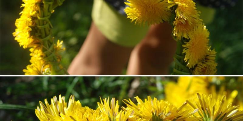 ساخت تاج گل برای کودکان با گل های طبیعی