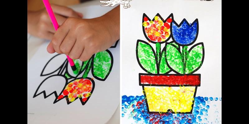 نقاشی گل، پرنده و پرانه