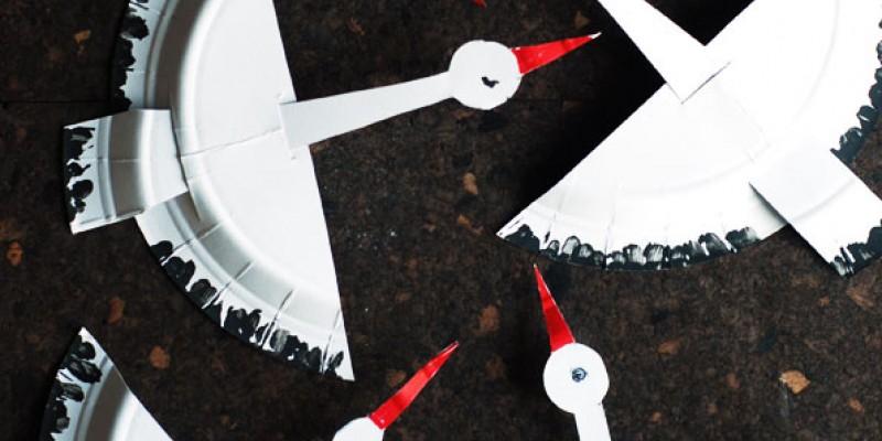 کاردستی ساخت لک لک با بشقاب های یک بار مصرف