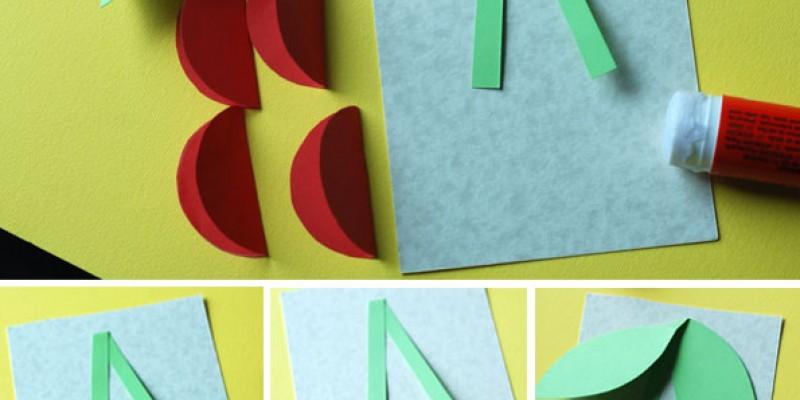 کاردستی ساخت گیلاس با کاغذ رنگی