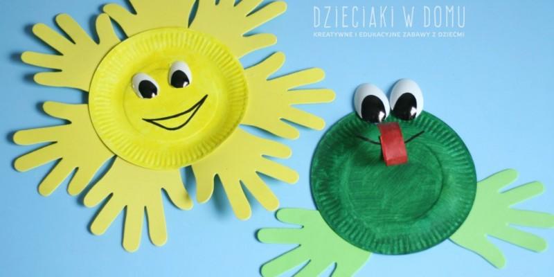 کاردستی کودک: ساخت خورشید و قورباغه با بشقاب یک بار مصرف و دست