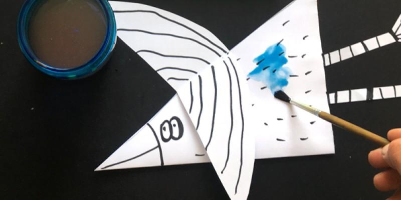 کاردستی کودک: ساخت پرنده با کاغذ و آب رنگ