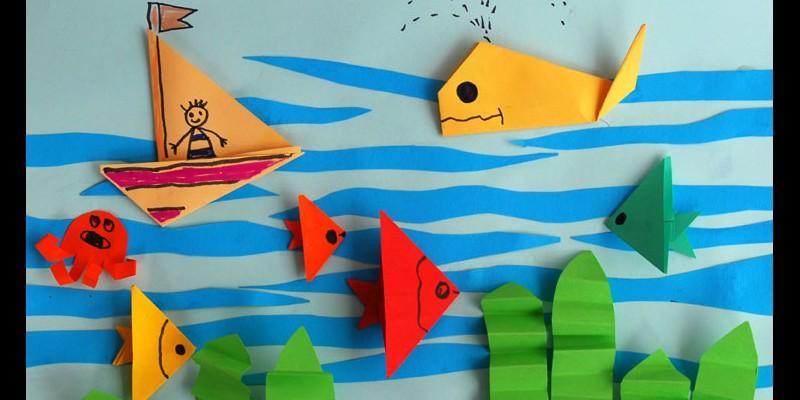 کاردستی کودک:  موجودات دریایی با کلاژ کاغذ